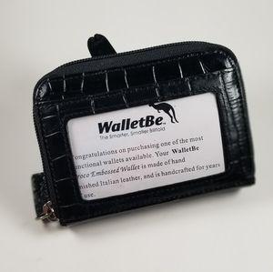 NWOB WALLETBE leather RFID cash /card faux croc